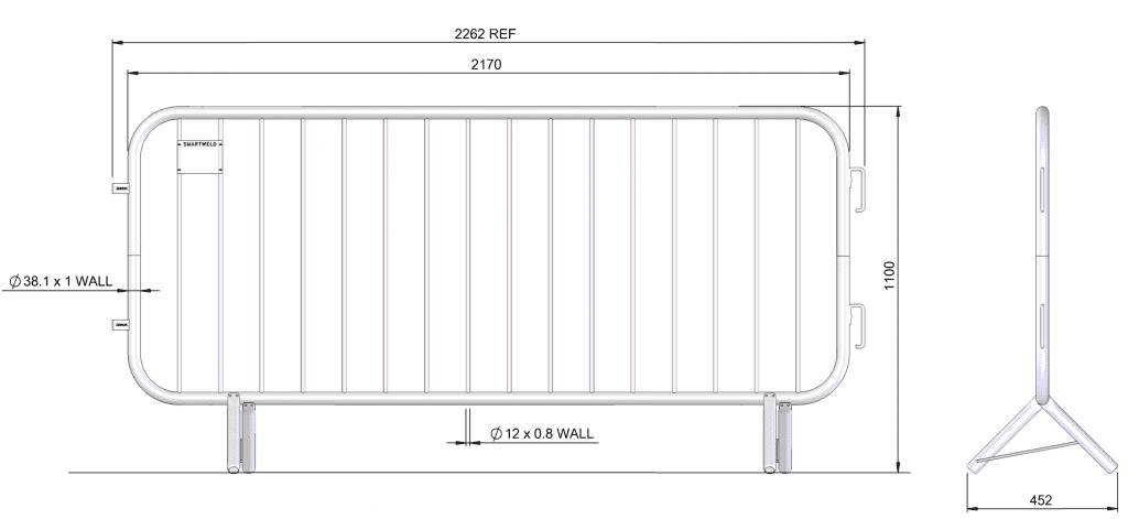 Crowd Control Barrier schematic